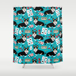 Welsh Corgi tricolored fancy poker night blackjack casino corgis cute dog breed gifts Shower Curtain