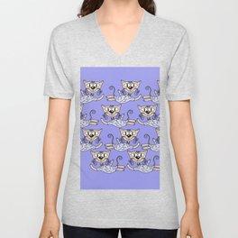 Flying cats in blue Unisex V-Neck