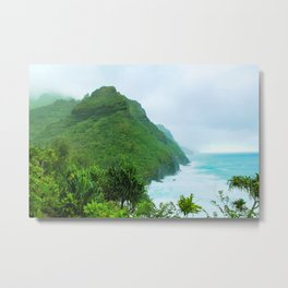 green mountain with blue ocean view at Kauai, Hawaii, USA Metal Print