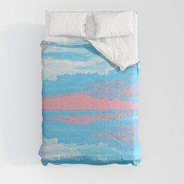 Transgender Pride Sunset & Clouds over a Lake Landscape Comforters