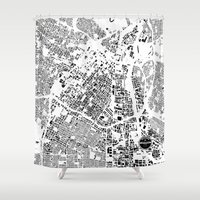 los angeles Shower Curtains featuring LOS ANGELES by Maps Factory