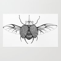 beetle Area & Throw Rugs featuring Beetle by Freja Friborg