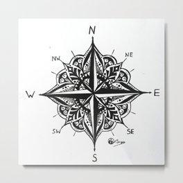 """""""Mandala Compass Rose"""" Original Directional Compass Art Metal Print"""