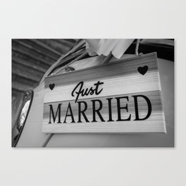 Just Married sign Canvas Print