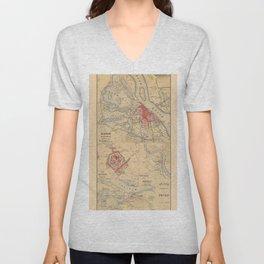 Map Of Hanoi 1895 Unisex V-Neck