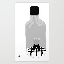 Stuck In a Hard Place | Bottle Depicted Art Print