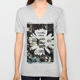 Flower Child with a Rock and Roll Soul Unisex V-Neck