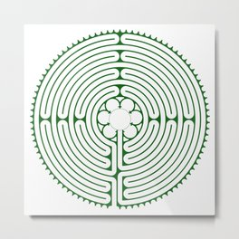 Cathedral of Our Lady of Chartres Labyrinth - Green Metal Print