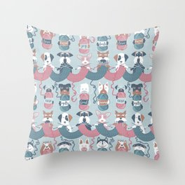 Knitting dog feelings I Throw Pillow