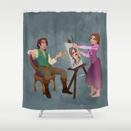 Tangled - Rapunzel Short Brown Hair and Flynn Rider Shower Curtain