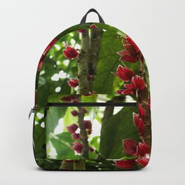 Red Flowers with Green leaf background Backpack