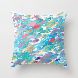 blue school Throw Pillow