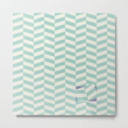 White and green zig zag lines Metal Print