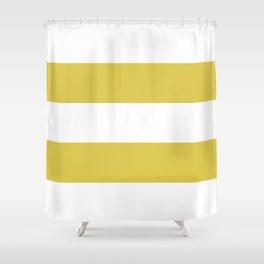 MUSTARD & WHITE STRIPE Shower Curtain