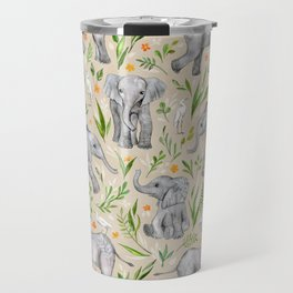 Baby Elephants and Egrets in Watercolor - neutral cream Travel Mug