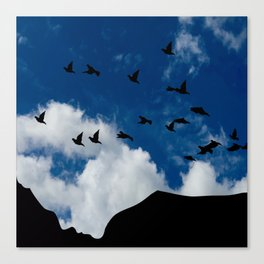 Sky, Face Profile Mountains and Black Birds Canvas Print