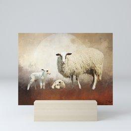 Twin Lambs Moon Rise Mini Art Print