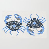 crab Area & Throw Rugs featuring Blue Crab by Cat Coquillette