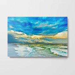 Blue Grean Fine Art Print Painted Seascape Metal Print
