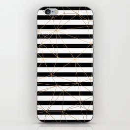 Gold Geometric Pattern Black and White Stripes iPhone Skin