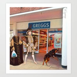 Henry VIII and Anne Boleyn get a steak bake at Greggs with Tommy on tow and Poundland shopping Art Print