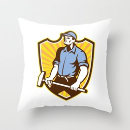 Worker Wielding Sledgehammer Crest Retro Throw Pillow