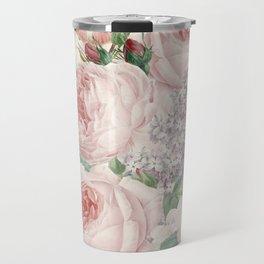 Vintage Roses and Lilacs Pattern - Smelling Dreams Travel Mug