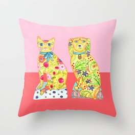 Boho Floral Cat and Dog Figurines Throw Pillow
