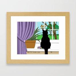 HD T.V. for Cats Framed Art Print