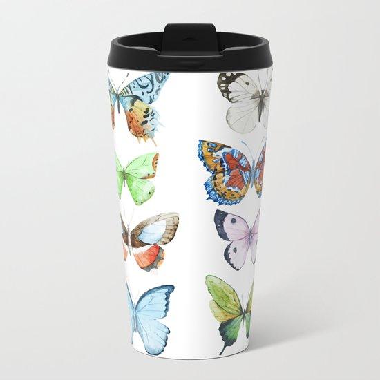 Butterfly Pattern 05 Metal Travel Mug