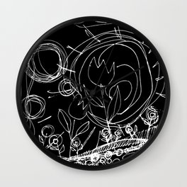 Scribble Doodle Flowers No.2 by Kathy Morton Stanion Wall Clock