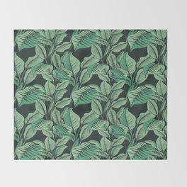 Exotic Tropical Banana Palm Leaf Print Throw Blanket