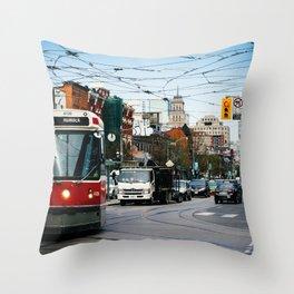 Queen West Streetcar Throw Pillow