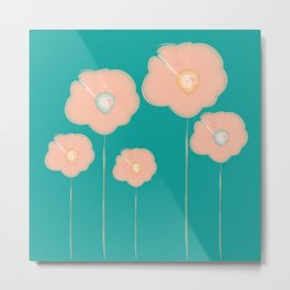 Poppies - pink and teal Metal Print
