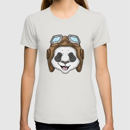 Panda as Pilot with Glasses T-shirt