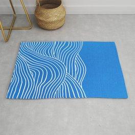 French Blue Ocean Waves Rug