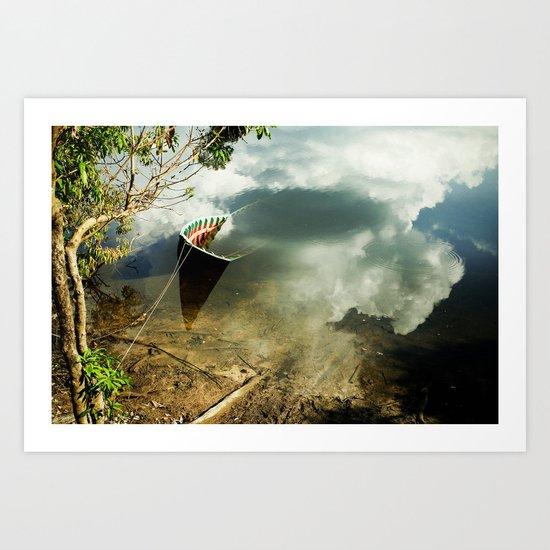 01 half boat + clouds Art Print