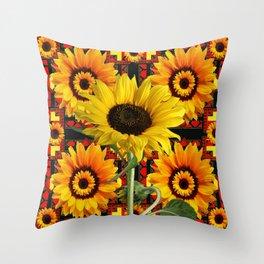 SOUTHWESTERN  BLACK COLOR YELLOW SUNFLOWERS ART Throw Pillow