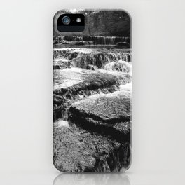 Black and White Rock Crossing Over Waterfall Nature Photography iPhone Case