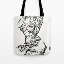 Floral Shroom Torso Pt 2 ink on white Tote Bag