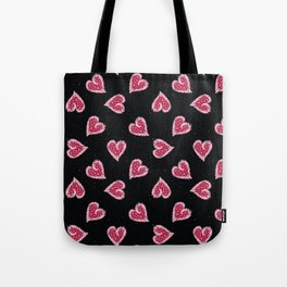 Red pink brush stroke dotty love hearts with 1950s style polka dots Tote Bag
