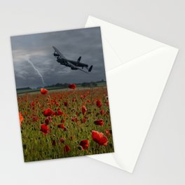 Lancaster Bomber Over A Poppy Field Stationery Cards