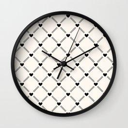 Stitched Hearts Wall Clock