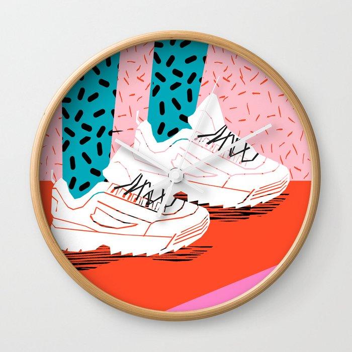 site réputé 79e59 6eff2 Double Up - retro sneakers, 80s, memphis, shoes, sneaker art print,  disruptor sneakers Wall Clock by wacka