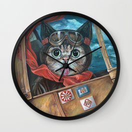 Lil Bub Takes Flight, cute cat art, oil painting portrait, flying plane in sky, kitty, kitten Wall Clock