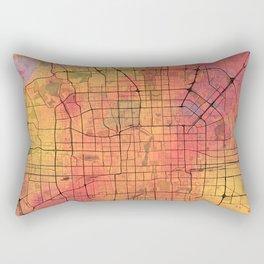 Beijing Street Map Art Watercolor Lava Eruption Rectangular Pillow