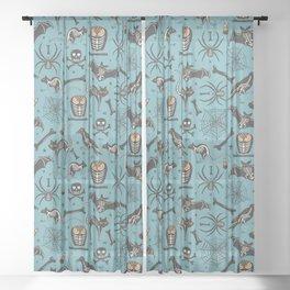 Halloween X-Ray Blue Sheer Curtain