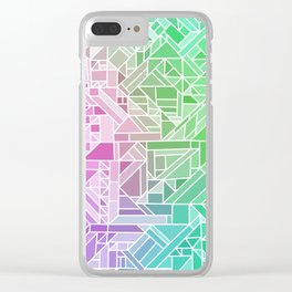 Bright Gradient (Violet Purple Lime Green Neon Yellow) Geometric Pattern Print Clear iPhone Case