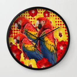 DECORATIVE TROPICAL RED MACAWS & HIBISCUS  FLOWERS Wall Clock