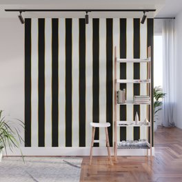 Luxury black and white striped pattern, with thin gold lines. Wall Mural